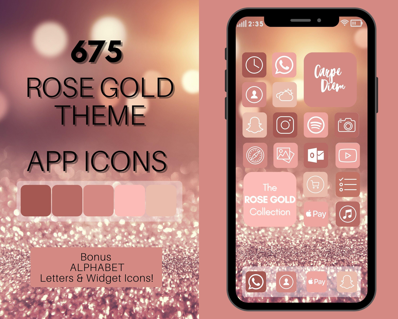 Rose Gold Theme Ios 14 App Icons Custom Designed Icons Creative Market
