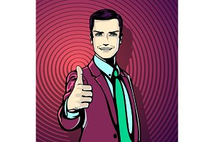 Pop art retro style, businessman
