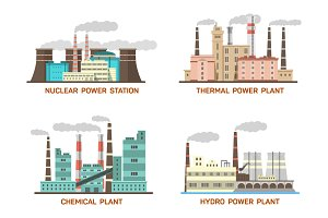 Set of vector industrial power plant