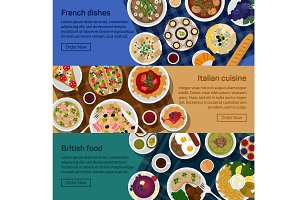 British, italian, french flat food