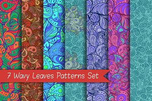 7 Wavy Leaves Patterns Set