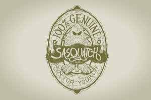 Woodcut Sasquatch Label