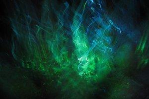 Blue green sea forms (light art)