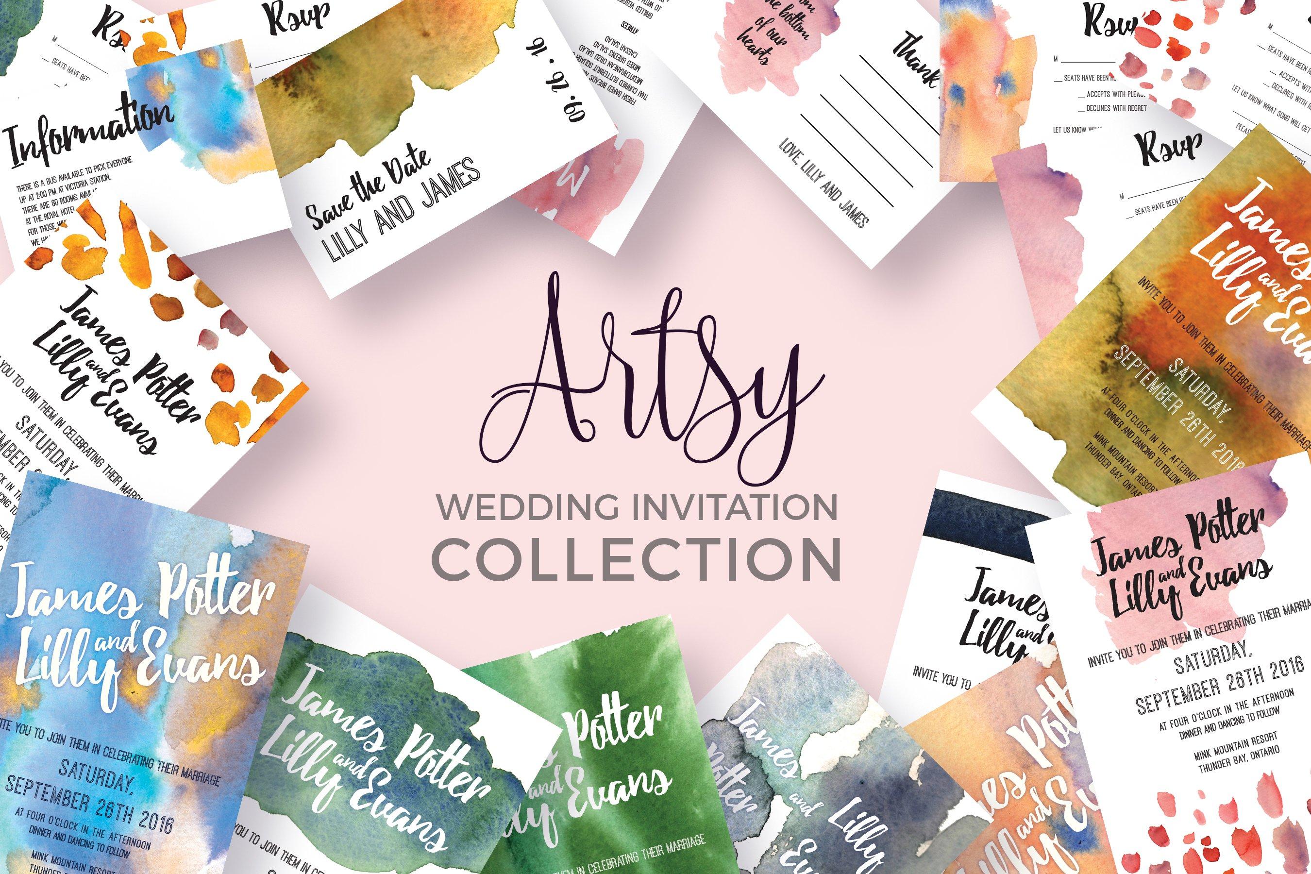 Artsy photos graphics fonts themes templates creative market artsy wedding invitation collection toneelgroepblik Image collections
