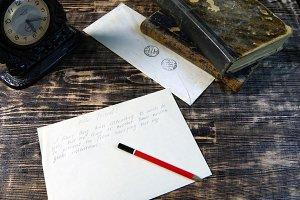 Old letter on vintage background