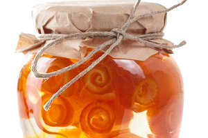 Jar with citrus zest preserves