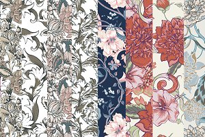 Vintage Baroque seamless patterns