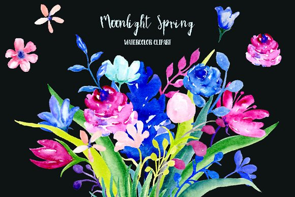 Watercolor Clipart Moonlight Spring