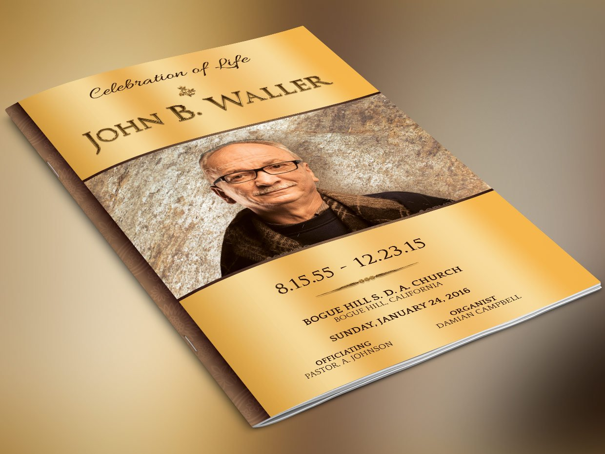Solid Gold Funeral Program Photoshop Templates Creative Market