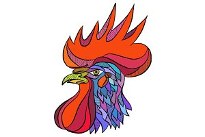 Chicken Rooster Head Side Drawing