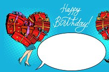 Happy birthday postcard man woman