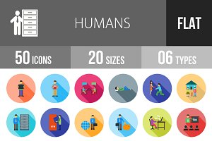 50 Humans Flat Shadowed Icons
