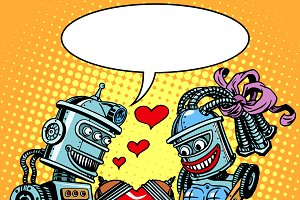 Robots couple love Valentines day