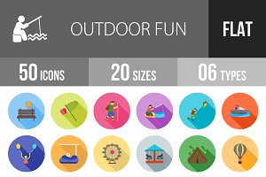 50 Outdoor Fun Flat Shadowed Icons