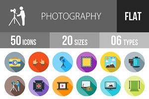 50 Photography Flat Shadowed Icons