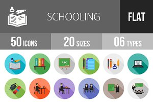 50 Schooling Flat Shadowed Icons