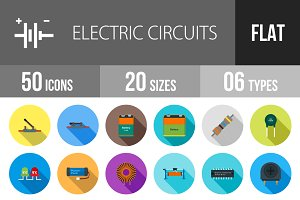 50 Electric Flat Shadowed Icons
