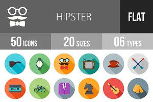 50 Hipster Flat Shadowed Icons