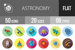 50 Astronomy Flat Shadowed Icons
