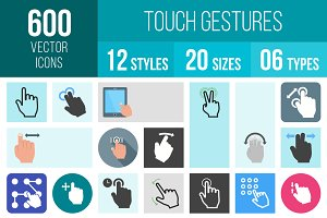 600 Touch Gestures Icons