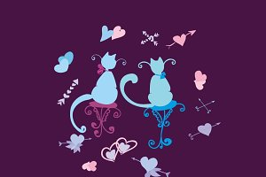 Illustration with cats in love.