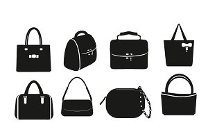 Set of vector black bags.