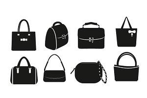 Set of vector black bags.
