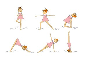 Cartoon girl practicing yoga.