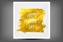 Golden banner happy Valentine's day