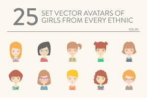 25 vector avatars of girls vol.05