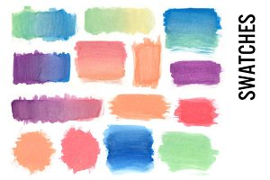 Watercolor Swatches Clipart