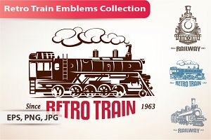 Retro Train Emblems and Labels Set