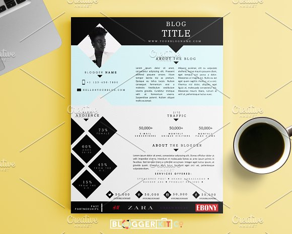 Blog media kit template one page stationery templates blog media kit template one page stationery templates creative market pronofoot35fo Image collections