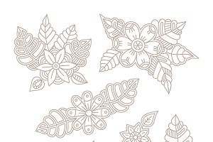 Floral design elements lineart