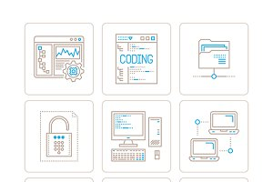 Computer icons lineart style