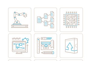 Technology icons in lineart style