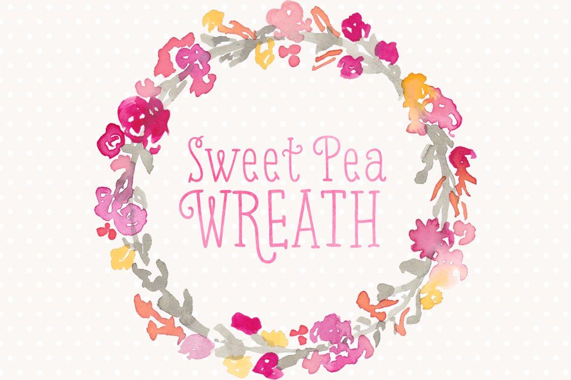 Watercolor Floral Wreath Sweet Pea Illustrations Creative Market