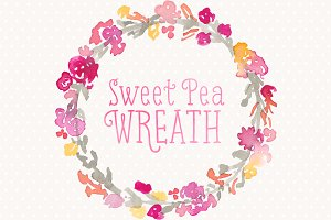 Watercolor Floral Wreath Sweet Pea