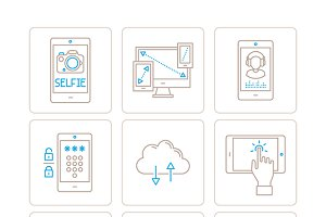 Mobile tech icons in mono line style