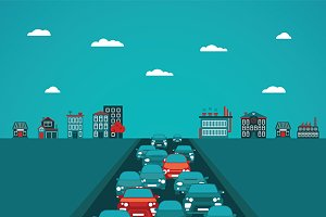 Urban traffic flat style