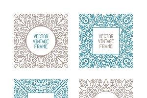 Vintage floral frames set lineart