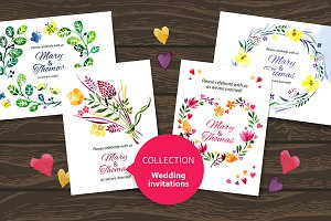 Set Of Watercolor Wedding Cards