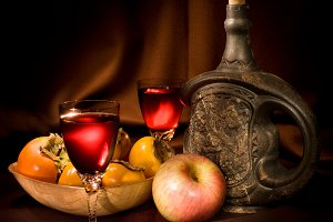 Wine and fruits
