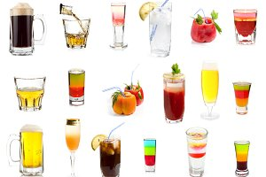 Set of drinks