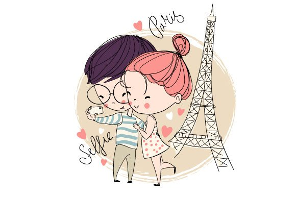 Love card. Young girl and boy. - Illustrations
