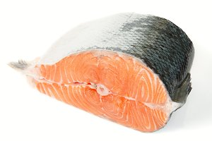 Piece of salmon isolated on white