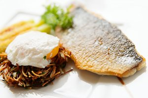 Seabass with pasta and poached egg