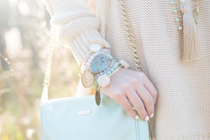 Mint Purse, Blue Jewelry in Spring