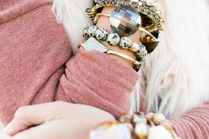 Grey and Gold Bracelet Stacks