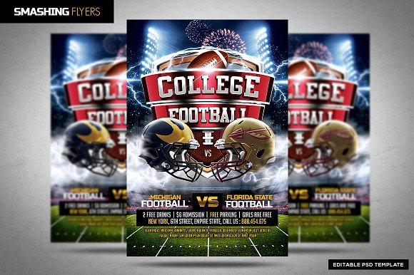college football flyer template flyer templates creative market